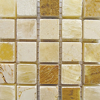 Diamond Tech Glass Stone Series 5/8 Polished Mosaic Honey Onyx/Crema Marfil/Timber T725