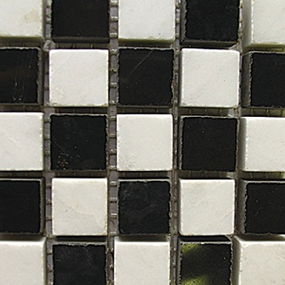 Diamond Tech Glass Stone Series 5/8 Polished Mosaic White Statuary/Black T728
