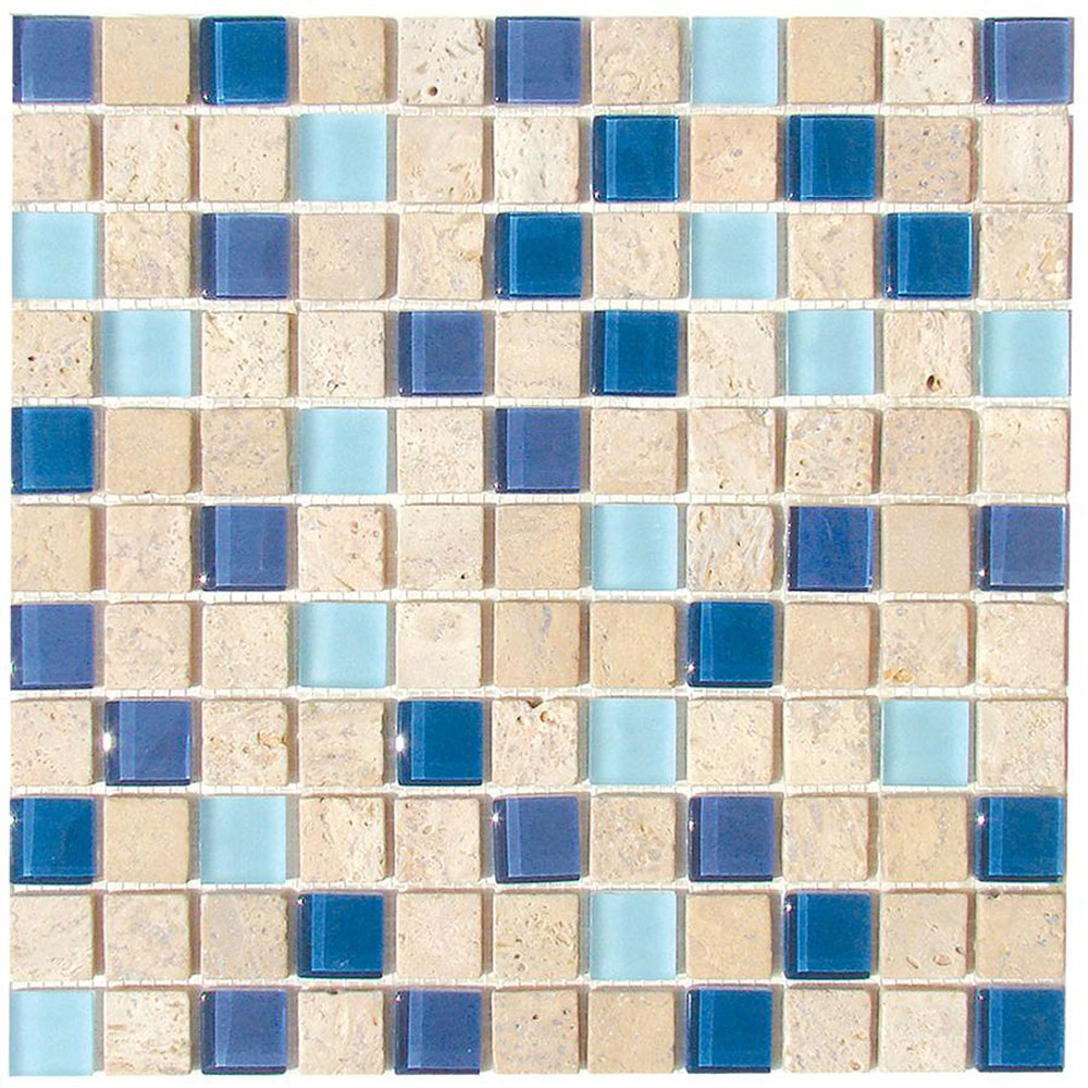 Diamond Tech Glass Travertine & Glass Mixes Lagoon TT114