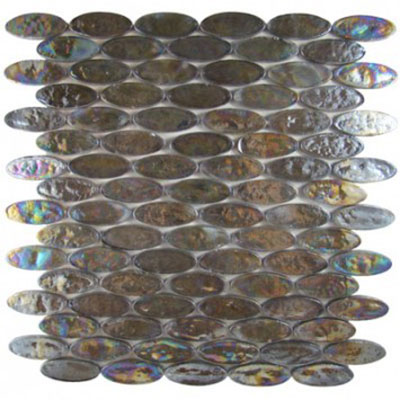 Diamond Tech Glass Vista 2 x 3/4 Oval Iridescent Mosaic Harbor Mist