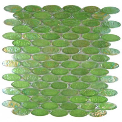 Diamond Tech Glass Vista 2 x 3/4 Oval Iridescent Mosaic Gecko TV457