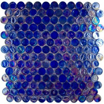 Diamond Tech Glass Vista 7/8 Round Iridescent Mosaic Liberty Blue TV441