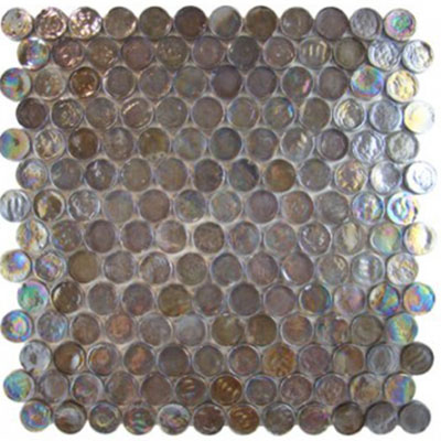 Diamond Tech Glass Vista 7/8 Round Iridescent Mosaic Harbor Mist TV444