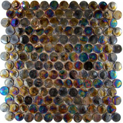 Diamond Tech Glass Vista 7/8 Round Iridescent Mosaic Cocoon TV446