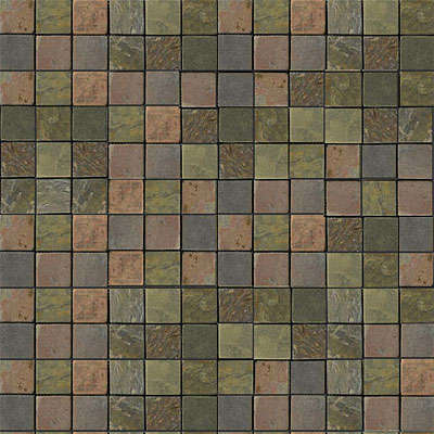 Emser Tile Antique & Tumbled Stone Mosaic 1 x 1 Square Slate Tumbled Multi Rajah