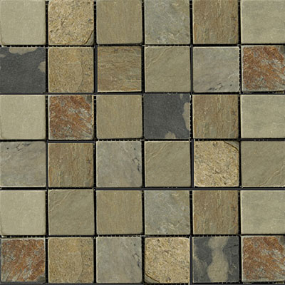 Emser Tile Antique & Tumbled Stone Mosaic 2 x 2 Square Slate Tumbled Autumn Lilac