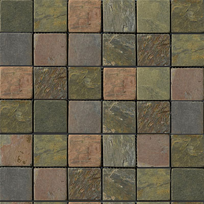 Emser Tile Antique & Tumbled Stone Mosaic 2 x 2 Square Slate Tumbled Multi Rajah