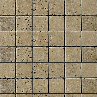 Emser Tile Antique & Tumbled Stone Mosaic 2 x 2 Square Trav Fontane Tumbled Walnut