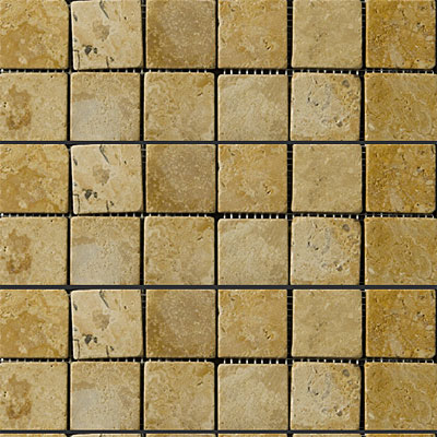 Emser Tile Antique & Tumbled Stone Mosaic 2 x 2 Square Trav Ancient Tumbled Oro