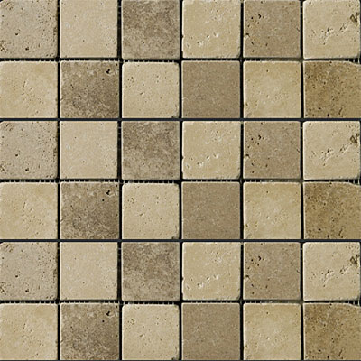 Emser Tile Antique & Tumbled Stone Mosaic Blends 2 x 2 Square Trav Ancient Tumbled Beige/Mocha
