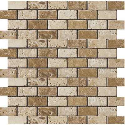 Emser Tile Antique & Tumbled Stone Mosaic Blends 1 x 2 Offset Trav Ancient Tumbled Beige/Mocha T03TRAVBM1212AOM