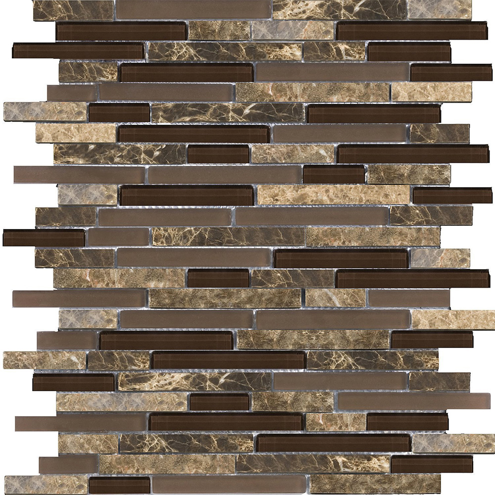 Sample Rustic Copper Linear Natural Slate Blend Mosaic: Emser Tile Lucente Glass And Stone Linear Mosaic Blend Vetro