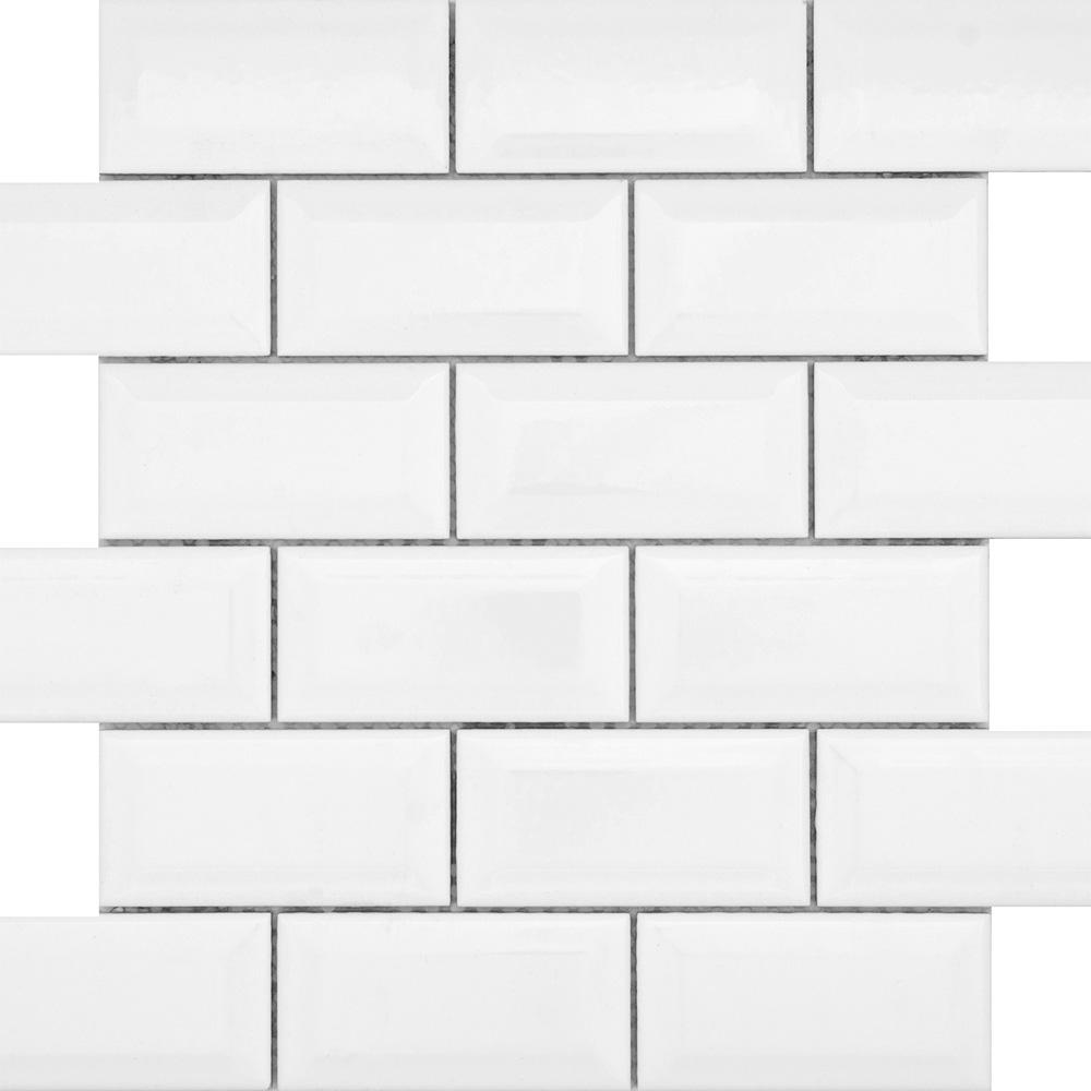 Emser Tile Vogue Offset Mosaic Beveled Gloss White