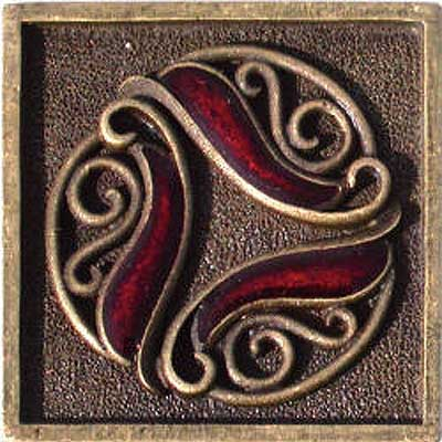 Florida Tile Metal Art 2 x 2 Decorative Inserts Brass Filigree MT044G