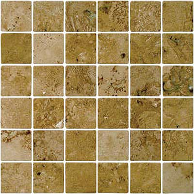 Florida Tile Pietra Art Mexican Travertine Tumbled Mosaic Noce Mosaic 90325