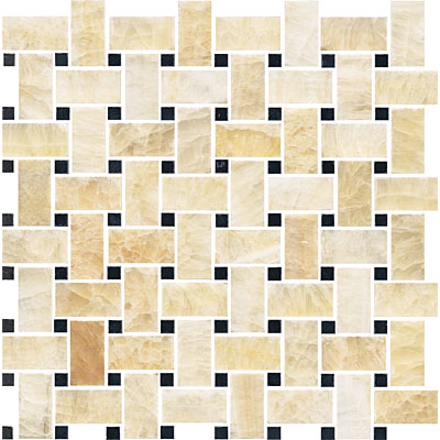 Florida Tile Pietra Art Mosaics Basketweave Polished Honey Onyx/Black T790 M12BW
