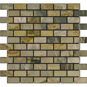 Stone Collection Indian Tumbled Slate Brick 1 x 2 Mosaic Autumn GSCAUMN12TMB