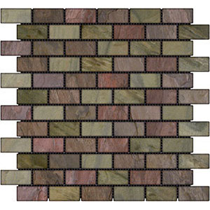 Stone Collection Indian Tumbled Slate Brick 1 x 2 Mosaic Multiselect GSCMUSE12TMB