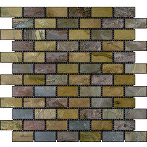 Stone Collection Indian Tumbled Slate Brick 1 x 2 Mosaic Sandalwood GSCSAND12TMB