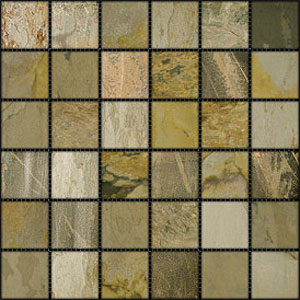 Stone Collection Indian Tumbled Slate 2 x 2 Mosaic Autumn GSCAUMN22TMB