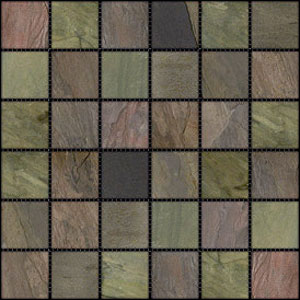 Stone Collection Indian Tumbled Slate 2 x 2 Mosaic Multiselect GSCMUSE22TMB