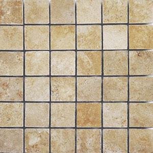 Stone Collection Mexican Travertine Tumbled Mosaic 2 x 2 Giallo Dorado GSCGIAL22TMB