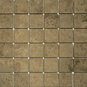 Stone Collection Mexican Travertine Tumbled Mosaic 2 x 2 Noce/Noche GSCNOCE22TMB