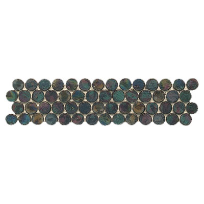 Interceramic Interglass - Black / White Mosaic Black Penny Rounds Mosaic Listel INGLBLAK312PM