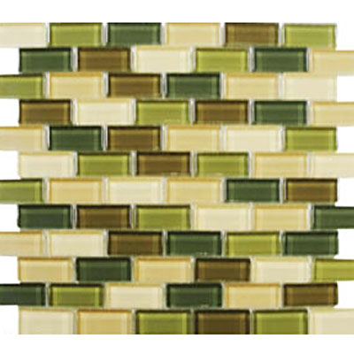 Interceramic Interglass Shimmer Blends Mosaic 1 x 2 Foliage SHBLFOLI12MG