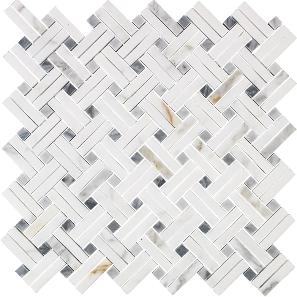 Interceramic Marble Mosaic Lattice Basketweave Tile