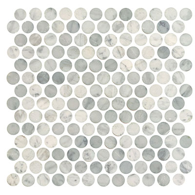 Interceramic Marble Mosaic Penny Rounds 1 X 1 White Carrara
