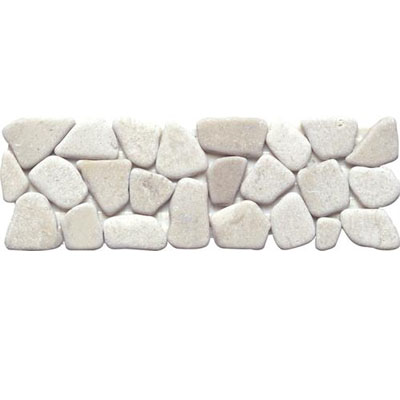 Interceramic Pebble Stones Listel Mosaic 4 x 12 White PESTWHIT412LM