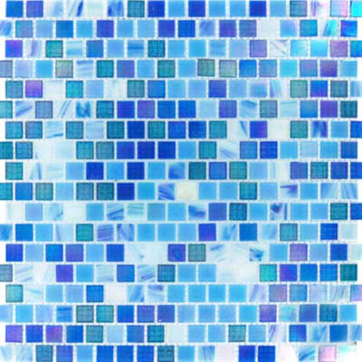 MS International Glass Mosaic 5/8 x 5/8 Opaque Blue Rainbow