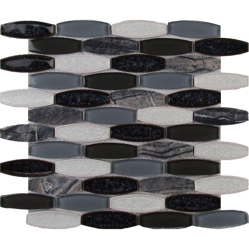 Ms international decorative blends mosaic oblong haley gris for International decor tiles