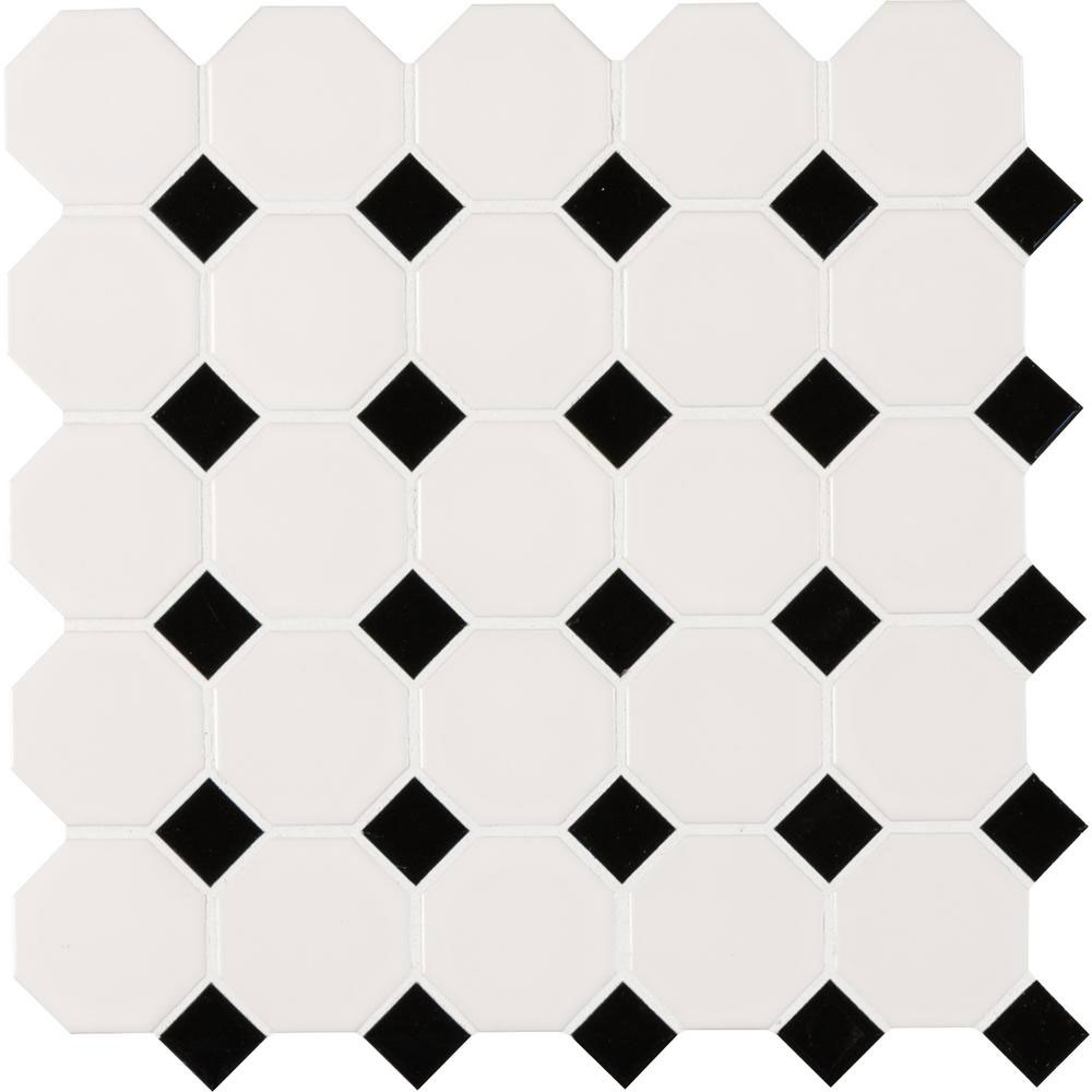 MS International Domino Mosaics White And Black Matte Octagon