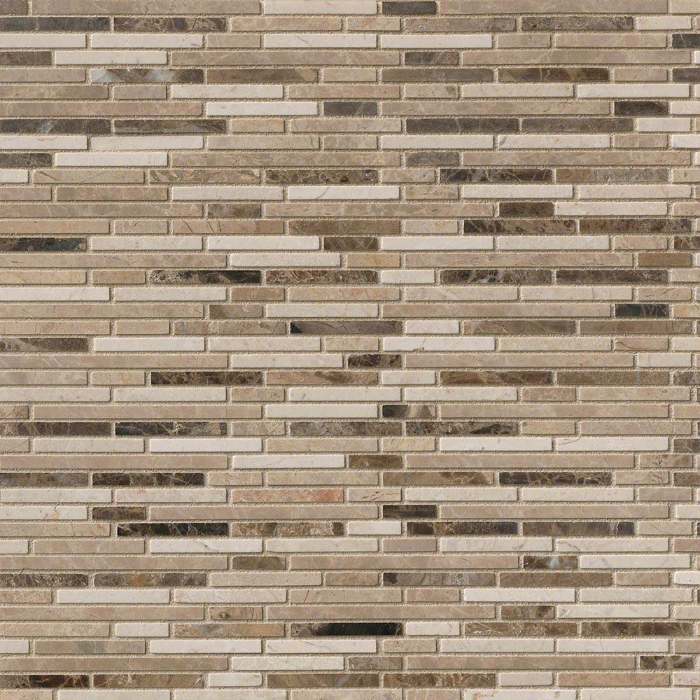 MS International Marble Mosaics Bamboo Emperador Blend