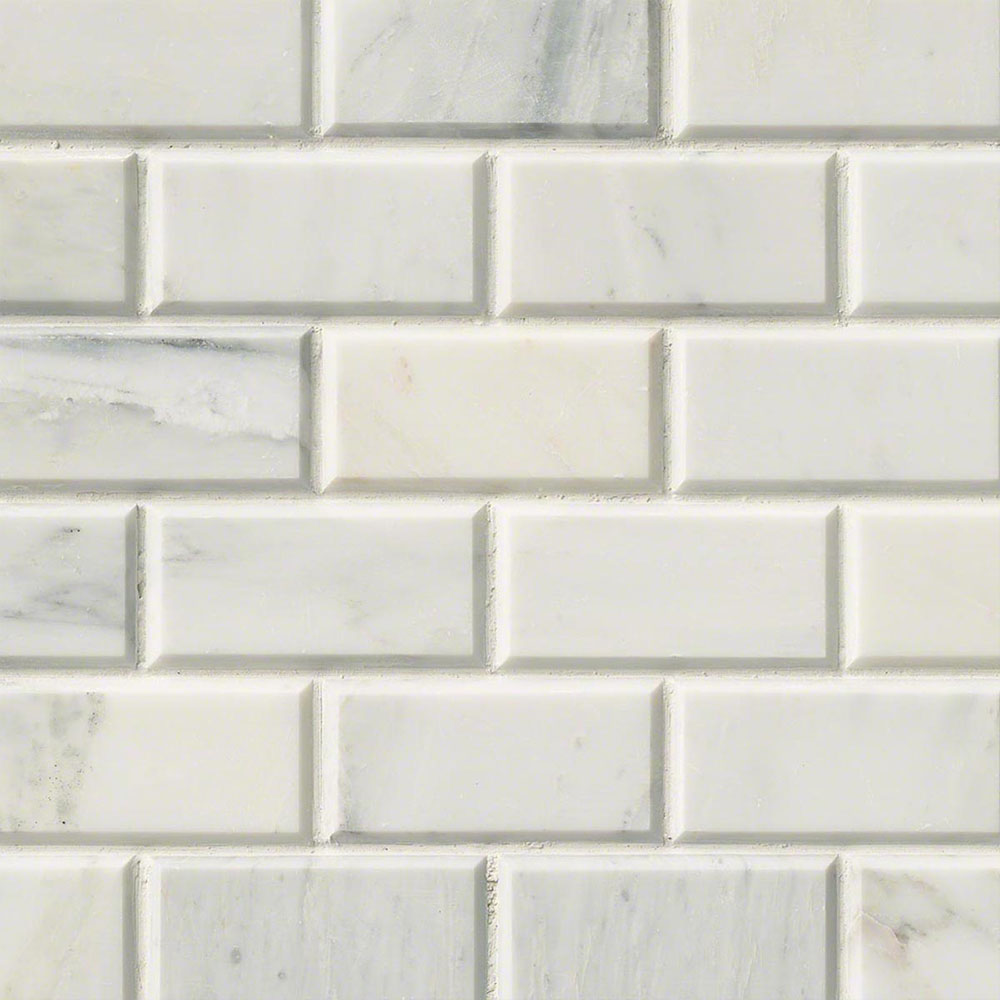 MS International Marble Mosaics Brick 2 x 4 Honed Arabescato Cararra