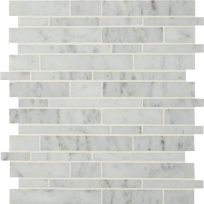 MS International Marble Mosaics Interlocking Polished Carrara White