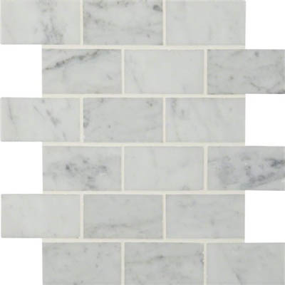 MS International Marble Mosaics Brick 2 x 4 Polished Carrara White Polished
