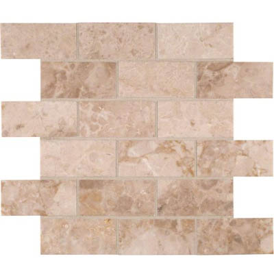 MS International Marble Mosaics Brick 2 x 4 Polished Crema Cappuccino Polished
