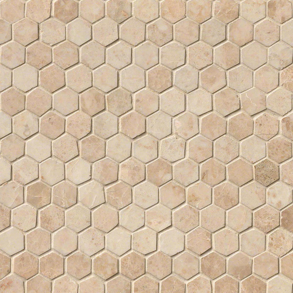 MS International Marble Mosaics Hexagon 1 X 1 Polished Crema Cappuccino Polished