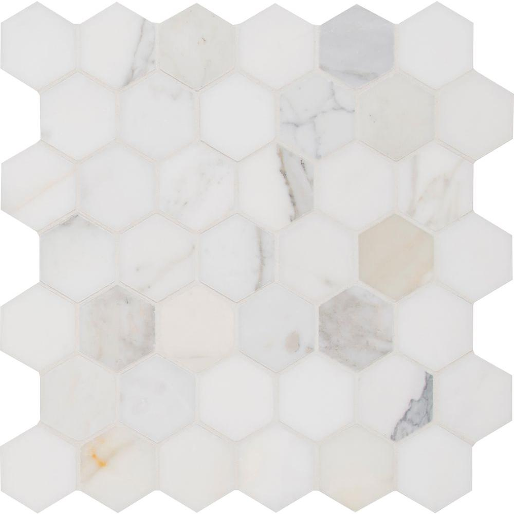 MS International Marble Mosaics Hexagon 2 x 2 Polished Calacatta Gold Polished