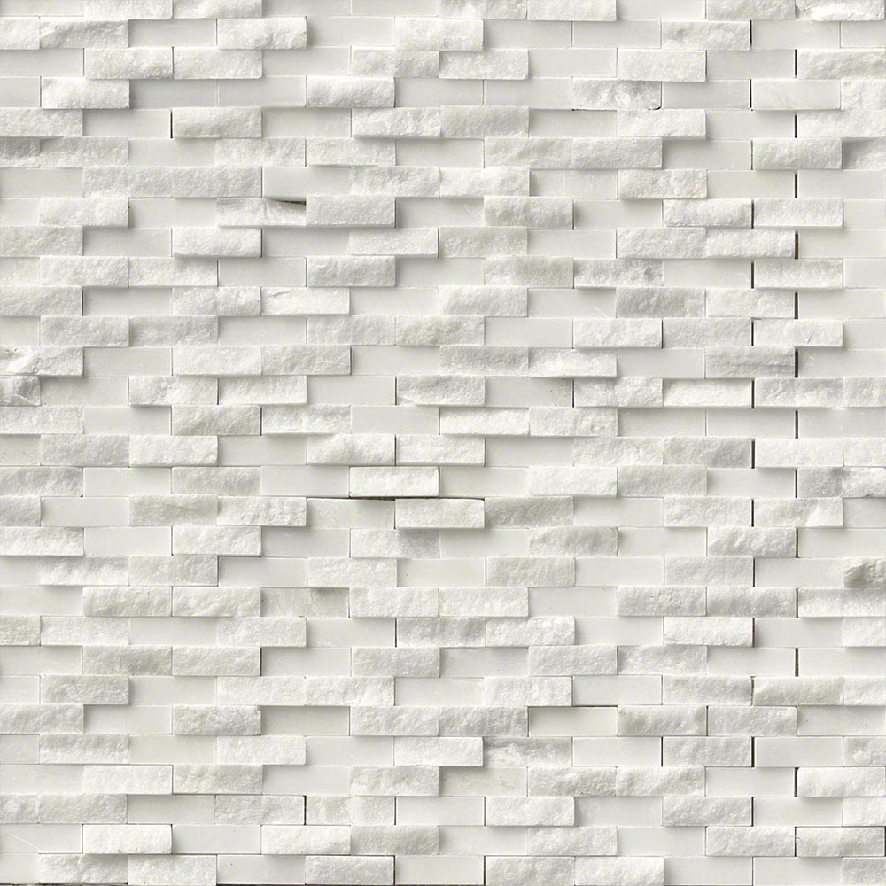 MS International Marble Mosaics Splitface Arabescato Carrara