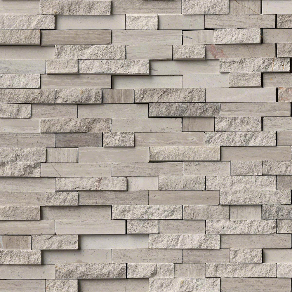MS International Marble Mosaics Splitface White Quarry