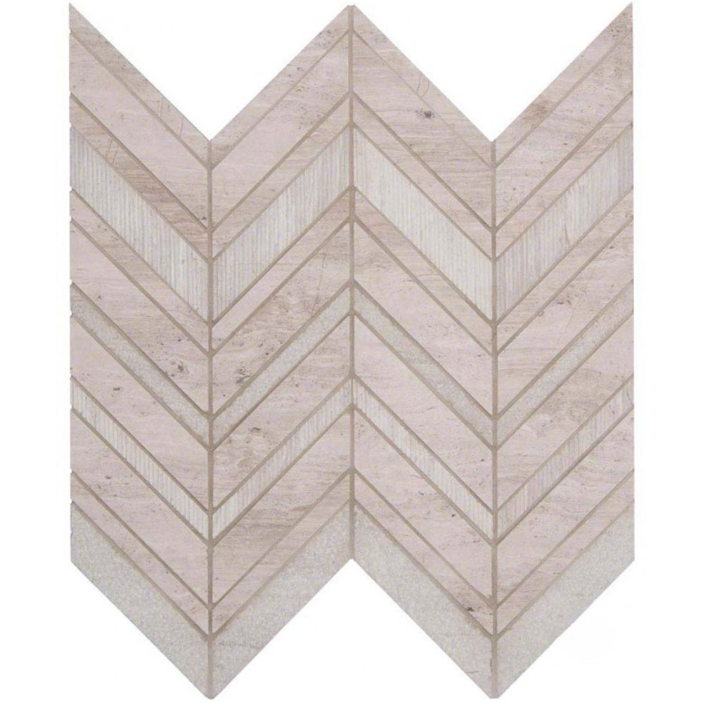 MS International Marble Mosaics Other White Quarry Chevron