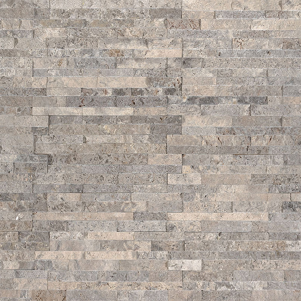 Exterior: MS International Mini Stacked Stone Panels Silver Travertine