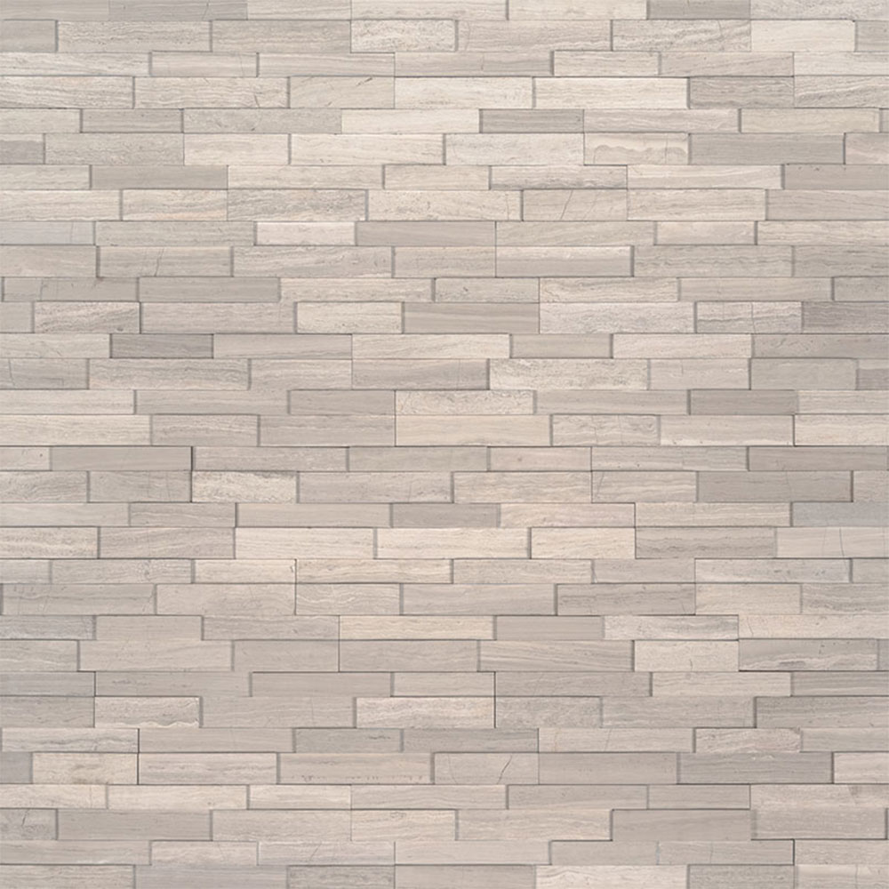 Exterior: MS International Mini Stacked Stone Panels White Oak