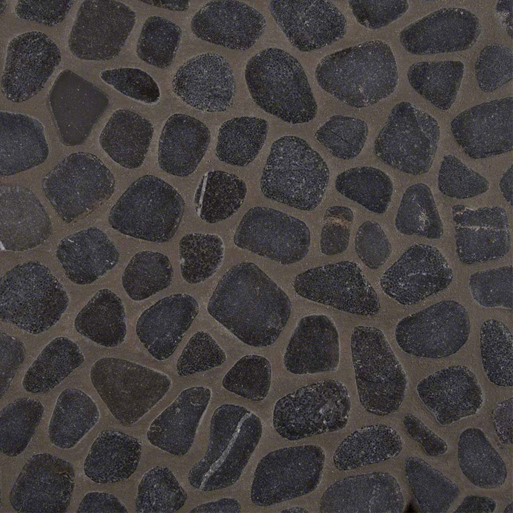 MS International Pebble Mosaics 12 X 12 Tumbled Black