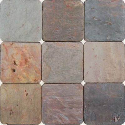 MS International Slate and Quartzite 4 x 4 Tumbled Multi Classic
