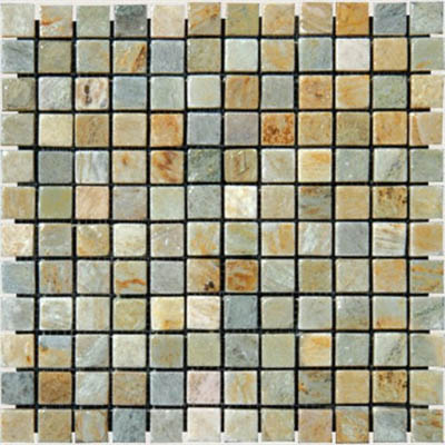 MS International Slate and Quartzite Mosaic 1 X 1 Golden White